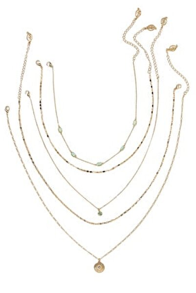 Kadın Sarı 5'Li Madalyon Kolye Seti 00282004