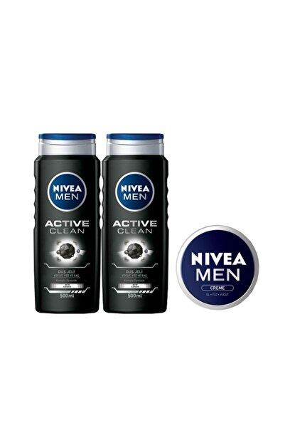 Nivea Active Clean Erkek Duş Jeli 500 Ml X 2 Adet+ Men Krem 30 Ml