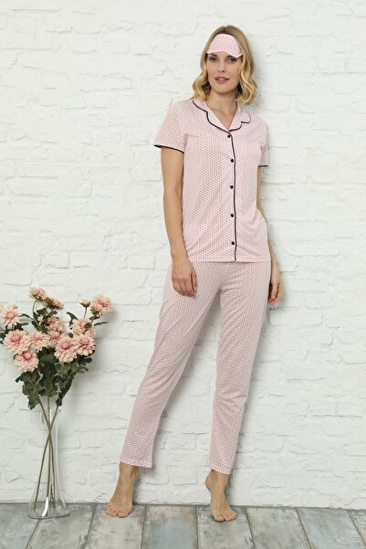 Kadın Pembe Puantiye Desenli Önden Düğmeli Kısa Kollu Pijama Takımı