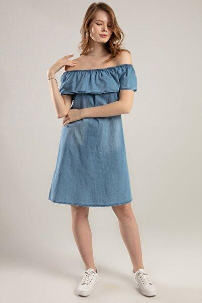 Y-London Kadın Açık Mavi Fırfırlı Straplez Kot Elbise Y20S110-1481