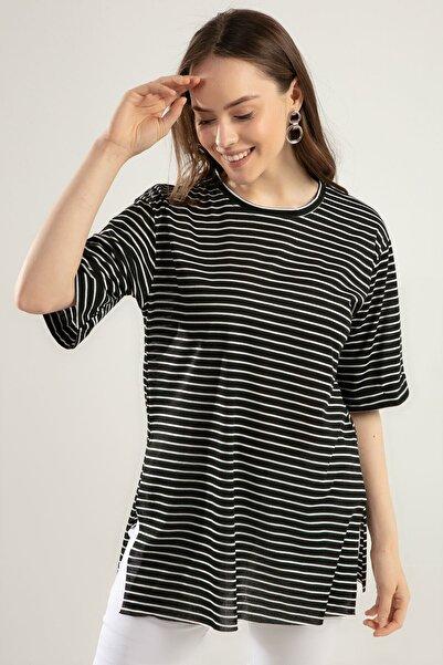 Y-London Kadın Siyah Beyaz Çizgili Duble Kol Yırtmaçlı Tişört Y20S110-0392