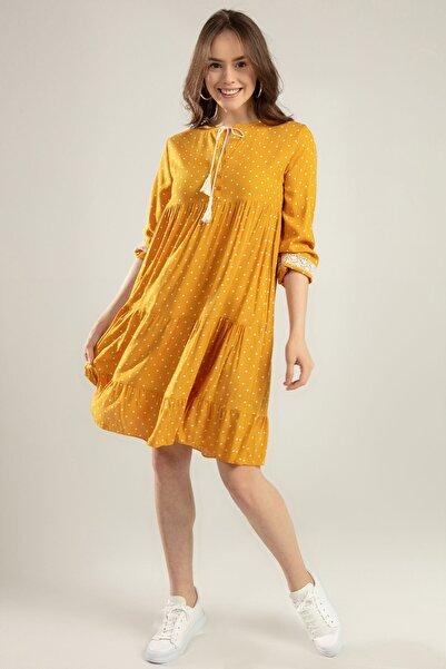 Y-London Kadın Hardal Puantiyeli Bağcıklı Dantel Detaylı Elbise Y20S110-1637