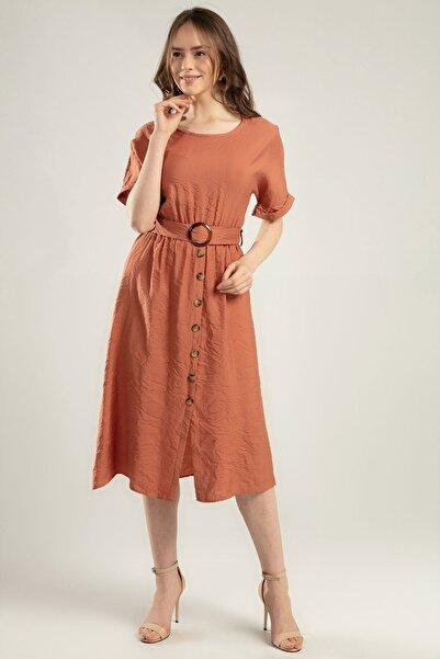 Y-London Kadın Taba Duble Kol Beli Lastikli Süs Düğmeli Elbise Y20S110-1682-1