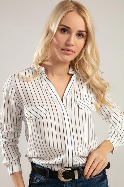 Kadın Beyaz Hakim Yaka Katlanabilir Uzun Kol Gömlek Y20S110-3455