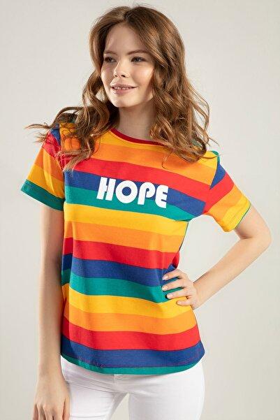 Y-London Kadın Çok Renkli Hope Baskılı Tişört Y20S110-4140