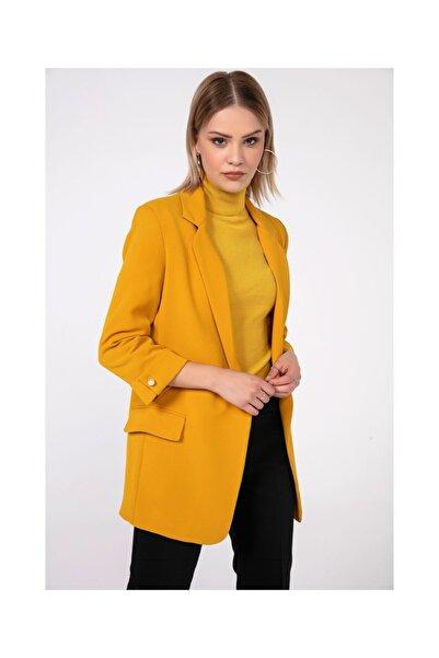 Tiffany Kadın Sarı Crep Saten İncili Ceket