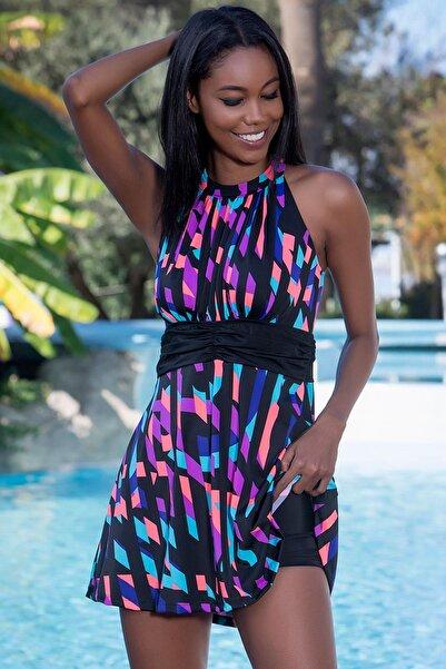 Kadın Çok Renkli Şortlu Elbise Mayo