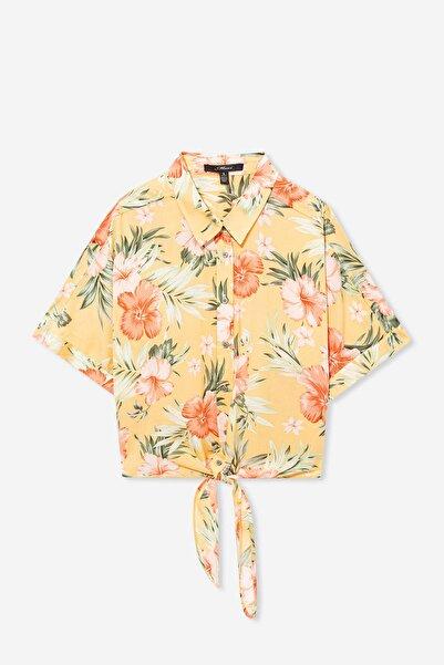Kadın Hibiscus Desenli Bağlama Detaylı Sarı Gömlek 122522-31536