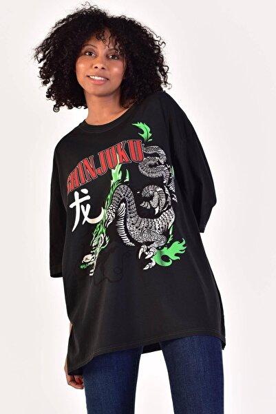 Kadın Füme Baskılı T-Shirt ADX-0000021577