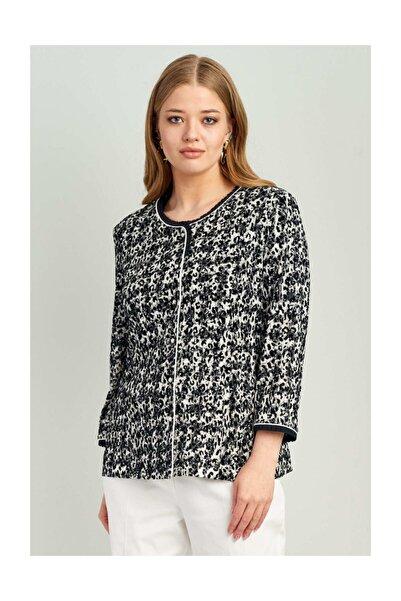 Ekol Kadın Siyah Desenli İnci Düğmeli Ceket