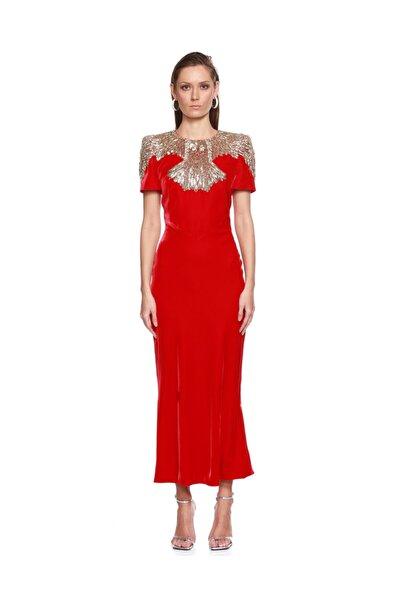 ALEXANDER MCQUEEN Kırmızı Gece Elbisesi