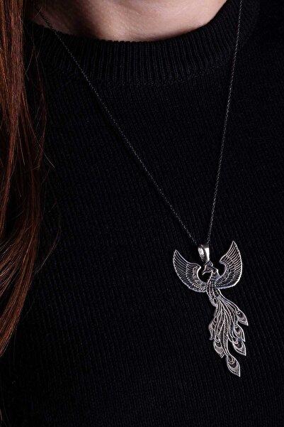 925 Ayar Gümüş Bayan Zümrüdüanka Kolye