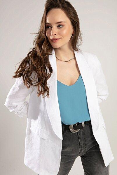 Kadın Beyaz Kolu Lastikli Keten Ceket Y19W109-38034