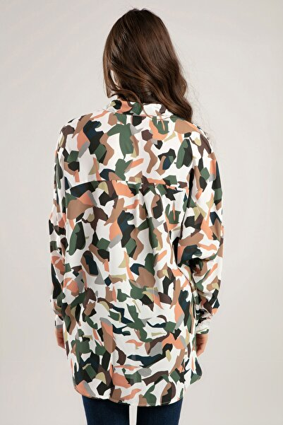 Kadın Beyaz Karışık Desenli Yarasa Kol Gömlek 30639 Y19W109-30639