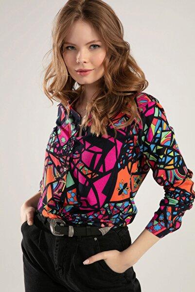 Kadın Fuşya Geometrik Desen Baskılı Yarasa Kol Gömlek 4107 Y19W110-4107