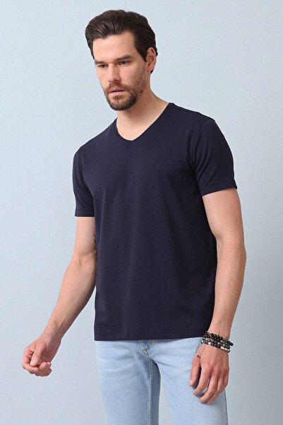 Erkek Lacivert Düz Örme T - Shirt RP10120599
