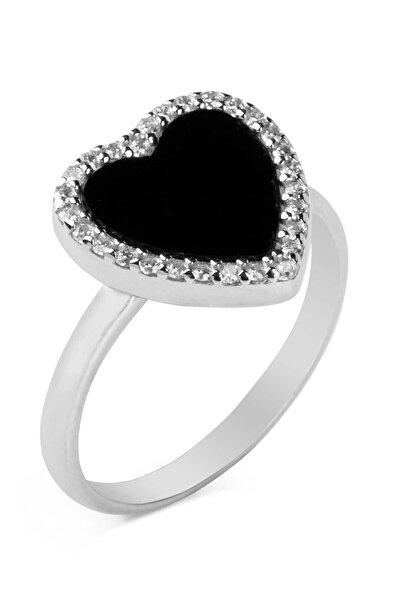 Anı Yüzük 925 Ayar Gümüş Siyah Taşlı Kalpli Kadın Yüzüğü