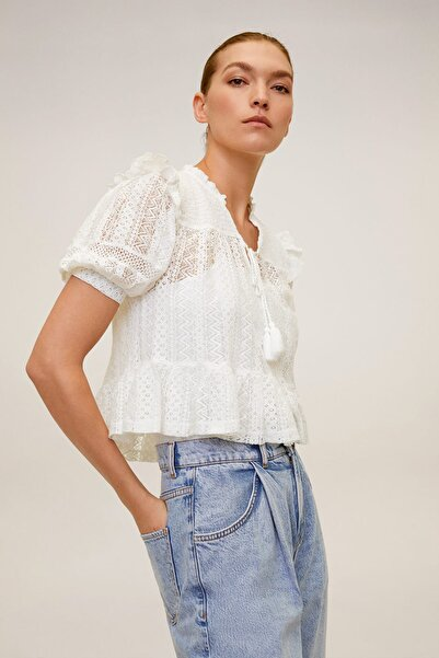 Kadın Kırık Beyaz Dantel Bluz 67037893