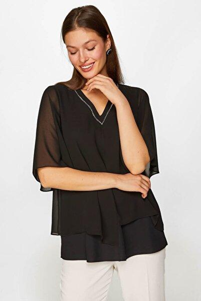 Faik Sönmez Kadın Siyah Taş İşlemeli Şifon Detaylı Tunik 60679 U60679