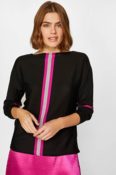 Faik Sönmez Kadın Siyah Önü Çizgili Triko Bluz 60747 U60747