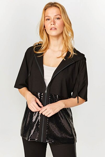 Faik Sönmez Kadın Siyah Payetli Sweatshirt  60318 U60318
