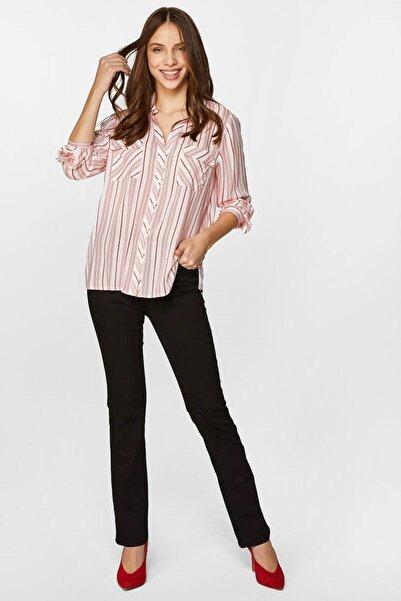Faik Sönmez Kadın Kırmızı Çizgili Gömlek 60355 U60355