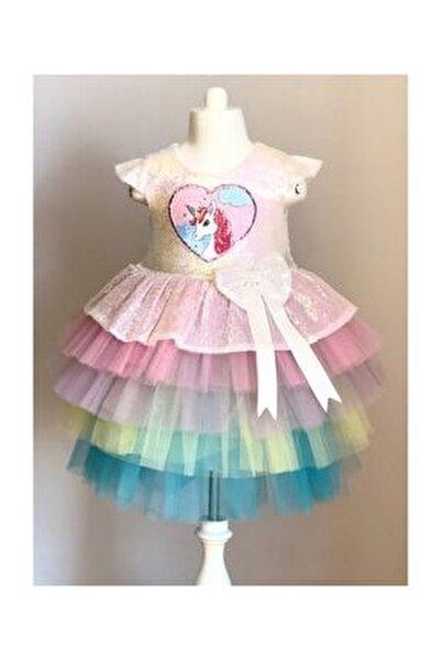 Kız Çocuk Pembe  Unicorn Pul Payetli Tütülü Parti Elbisesi