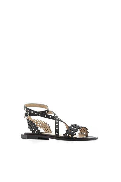 İLVİ Bell Kadın Sandalet Siyah Deri