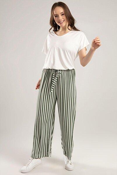 Y-London Kadın Haki Beli Lastikli Bol Kesim Çizgili Pantolon 6470