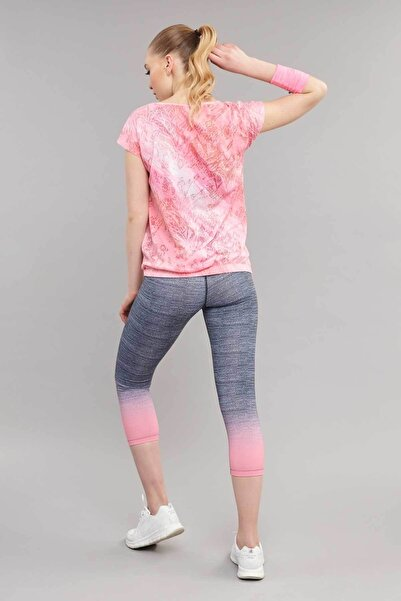 Pembe Likralı Pamuklu Kadın T-Shirt ES-3571