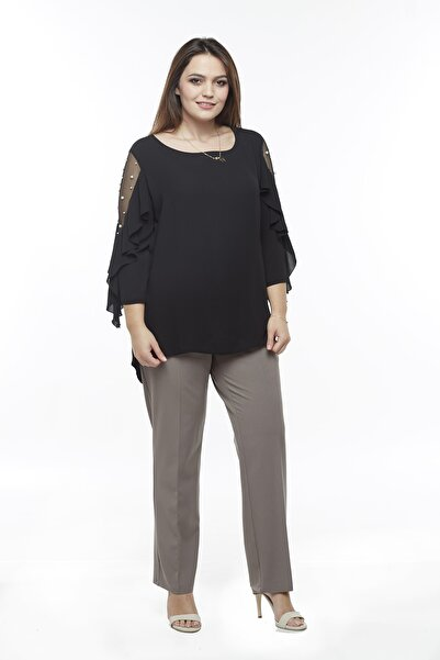 Moda Berray 2555 Gizli Cep Modeline Sahip Büyük Beden Pantolon Vizon
