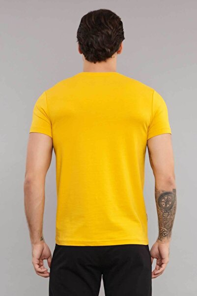 Sarı Pamuklu Erkek T-Shirt ES-3871