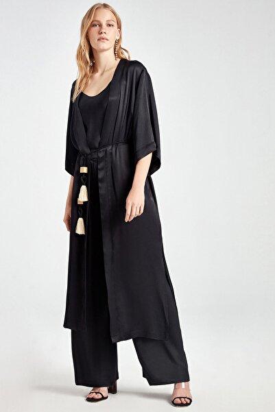 Kadın Siyah Kaplan Baskılı Kimono N20Y-11208-0002