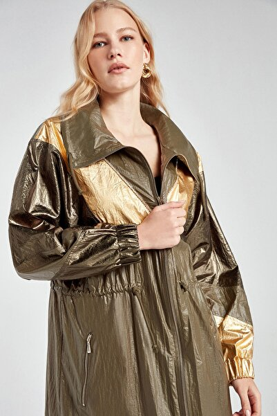 Kadın Haki Geniş Yaka Metalik Trençkot N20Y-11204-0010