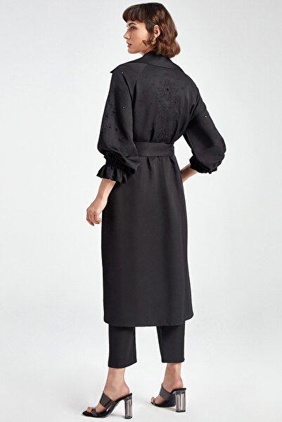 Kadın Siyah Brode Trençkot N20Y-11202-0002