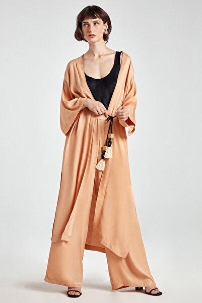 Kadın Pudra Kaplan Baskılı Kimono N20Y-11208-0033