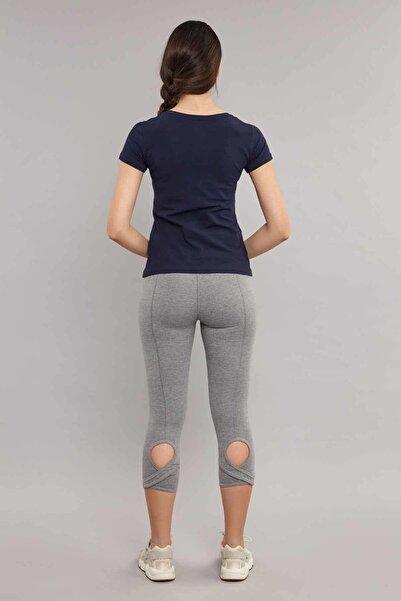 Lacivert Likralı Pamuklu Kadın  T-Shirt ES-3526