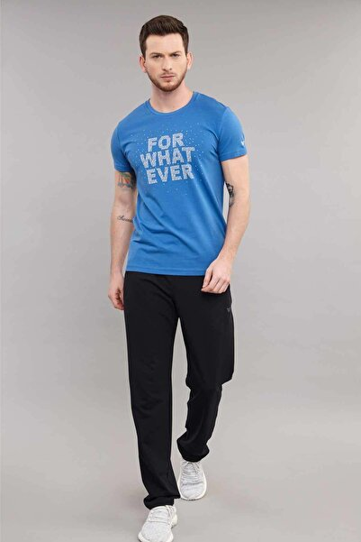 bilcee Mavi Likralı  Pamuklu  Erkek  T-Shirt ES-3828