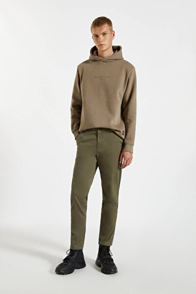 Pull & Bear Erkek Haki Elastik Belli Slim Fit Chino Pantolon 09678520