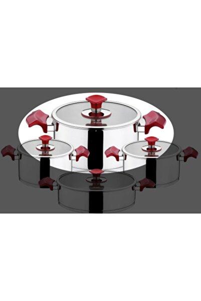 Aryıldız King Kırmızı 2 Parça 24x12cm Paslanmaz Çelik Tencere