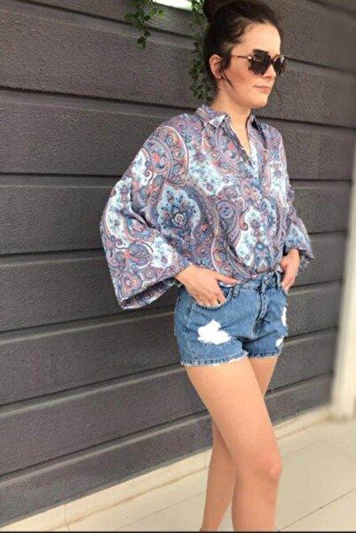 RANDOM Kadın Mavi Şal Desenli Bol Gömlek