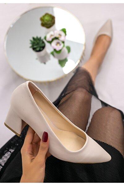 Erbilden Kadın Krem Manina Cilt Topuklu Ayakkabı