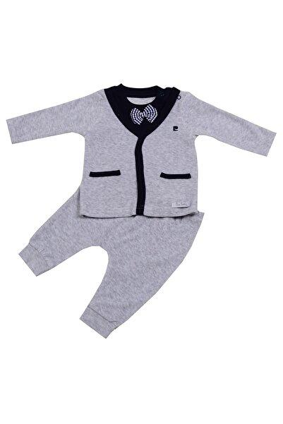 Pierre Cardin Baby Pierre Cardin Papyonlu Kadife Bebek Takımı Gri