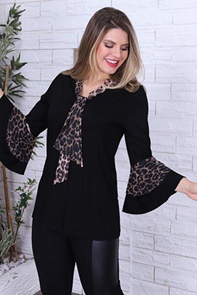1fazlası Kadın Siyah Leopar Desenli Kendinden Şallı Ispanyol Kol Bluz
