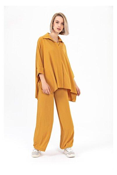 TIFFANY&TOMATO Kadın Sarı Yarasa Kol Dubai Gömlek