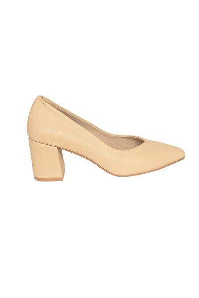 Mammamia Kadın Bej Deri Klasik Topuklu Ayakkabı