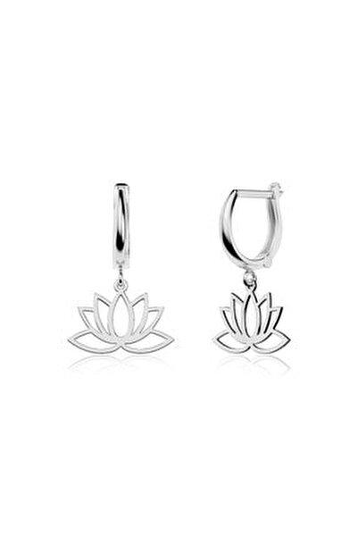 Sade Lotus Çiçeği Beyaz Gümüş Küpe