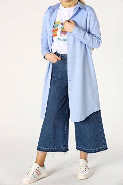 ALLDAY Kadın Mavi Gizli Patlı Gömlek Tunik