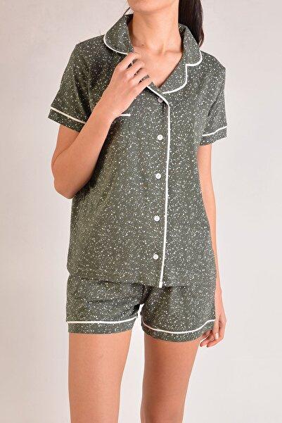 Nicoletta Kadın Haki Şortlu Kısa Kollu Düğmeli Cepli Pamuk Pijama Takımı