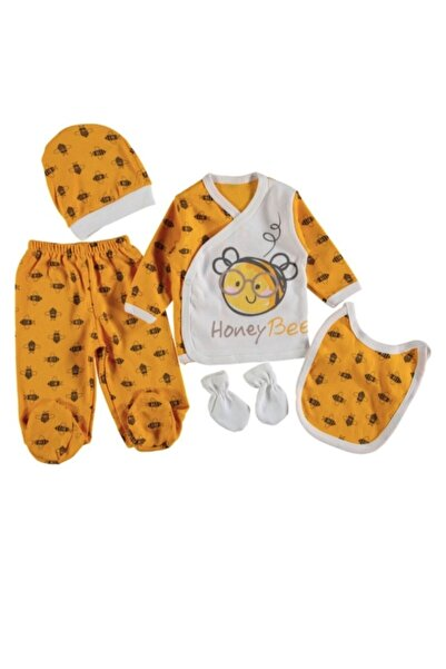 wow bebek Unisex Sarı Arı Baskılı 5'li Zıbın Takımı 0-3 Ay